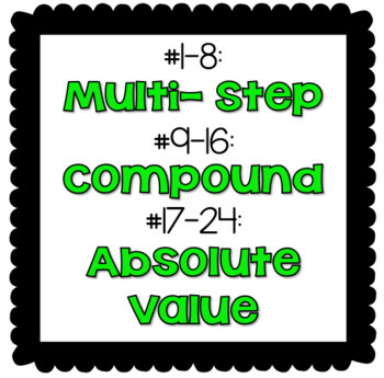 Multi- Step, Compound, and Absolute Value Inequalities Task Cards