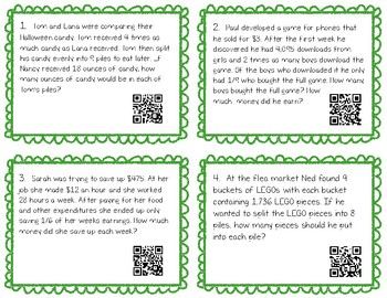 Multi-Step Division Word Problems QR Codes