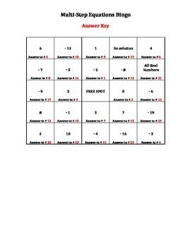 Multi-Step Equation Bingo