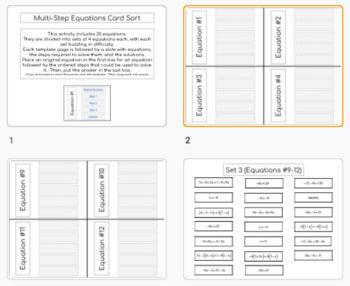 Multi-Step Equation Card Sort