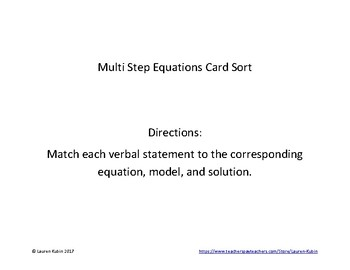 Multi Step Equation Card Sort