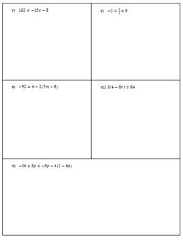 Multi-Step Equation Hidden Picture Puzzle