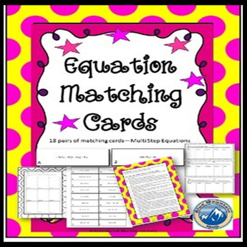 Multi Step Equation Matching Card Set