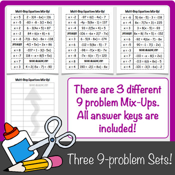 Multi-Step Equations Mix-Up!