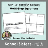 Multi-Step Equation Notes for Interactive Notebooks