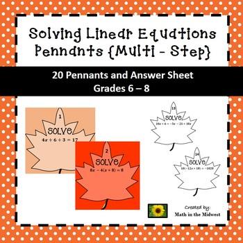 Multi - Step Equation Pennants - Fall Theme 8.EE.7