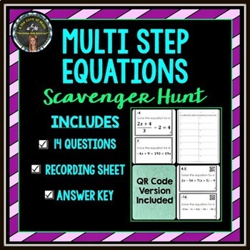 Multi Step Equation: Scavenger Hunt