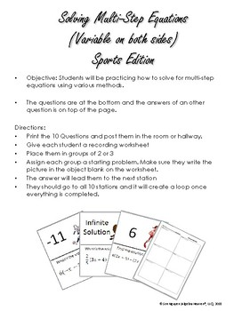 Multi-Step Equation Scavenger Hunt (Sports Edition) FREE