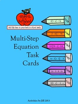 Multi-Step Equation Task Cards
