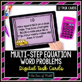 Multi Step Equation Word Problem: Digital Task Cards