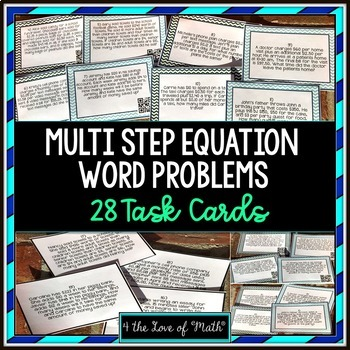 Solving Multi Step Equation Word Problem Task Cards