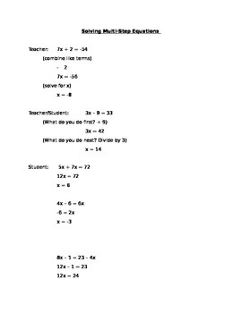 Multi Step Equations