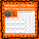 Halloween Fall Multi Step Equations Maze