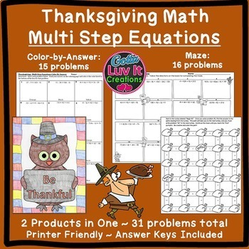 Thanksgiving Math: Multi Step Equations Maze & Color by Number Coloring Page