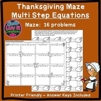 Solving Equations -Thanksgiving Math Multi Step Equations Fall Activities
