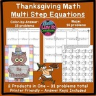 Thanksgiving Math Activity Solving Multi-Step Equations