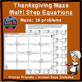 Thanksgiving Fall Multi Step Equations Maze
