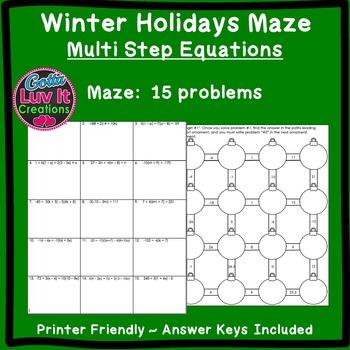 Christmas Activity: Multi Step Equations Maze