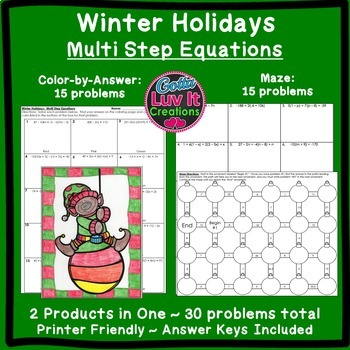 Christmas Math Multi Step Equations Maze & Color by Number