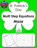 St. Patrick's Day Multi Step Equations Maze