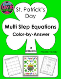 St. Patrick's Day Multi Step Equations Color-by-Answer