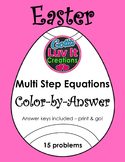 Easter Spring Multi Step Equations Color-by-Answer