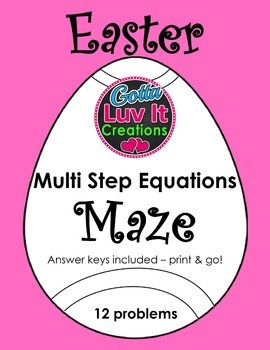 Easter Spring Multi Step Equations Maze