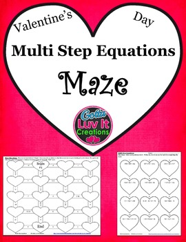 Valentine's Day Multi Step Equations Maze
