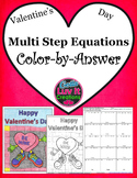 Valentine's Day Multi Step Equations Color by Number