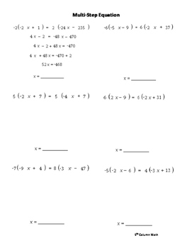 Multi-Step Equations