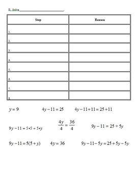 Multi-Step Equations Activity Sheet