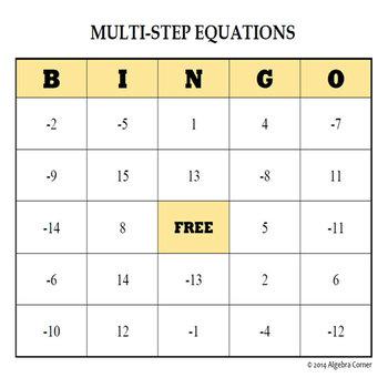 Multi-Step Equations BINGO