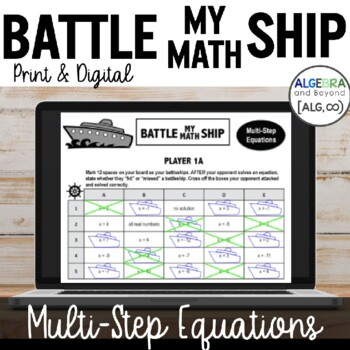 Multi-Step Equations - Battle My Math Ship Activity