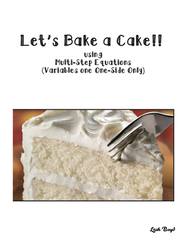 Cake Recipe Task Cards: Variables on One Side