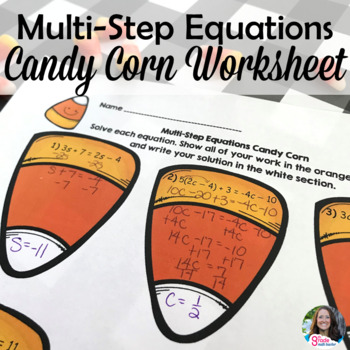 Halloween Multi-Step Equations Candy Corn Activity Page