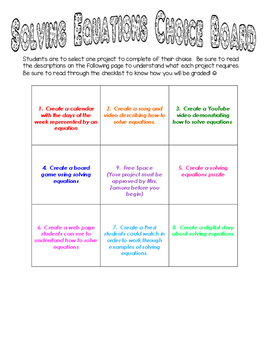 Multi-Step Equations Choice Board Project