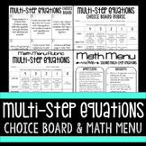 Multi-Step Equations Choice Board and Math Menu