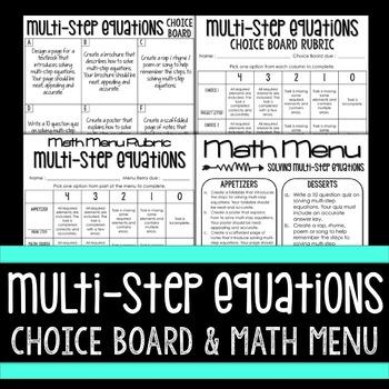 Multi-Step Equations Choice Board and Math Menu