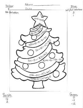 Multi Step Equations Christmas Tree