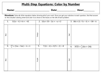 Multi Step Equations Color By Number