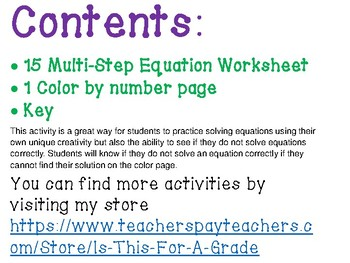 Multi-Step Equations Color By Number