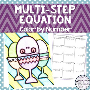 Multi-Step Equations Variables on One Side Color By Number Easter Activity