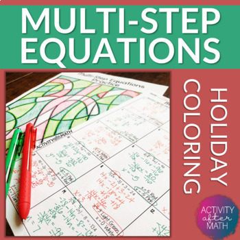 Multi-Step Equations Coloring By Number Christmas Math Activity