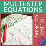 Christmas Math Multi-Step Equations Variables on One Side Coloring Activity