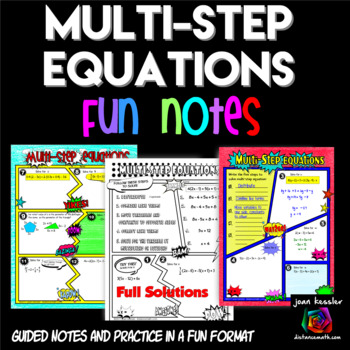 Multi-Step Equations Comic Book  Doodle Notes and Practice