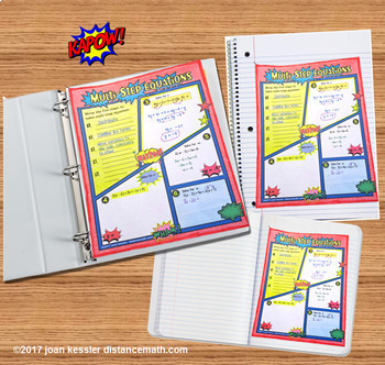 Multi-Step Equations Comic Book FUN Notes Doodle Pages and Practice