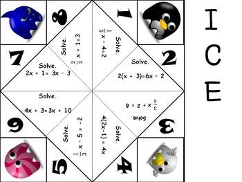 Multi-Step Equations Activity - Cootie Catcher