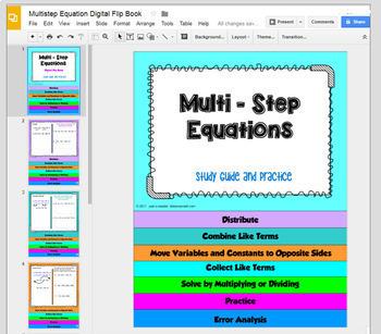 Multi Step Equations Digital Flip Book with GOOGLE Slides