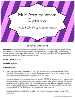 Multi Step Equations Dominoes: A Self Checking Practice Acitivity