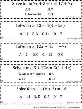 8th Grade Multi Step Equations Game | 8th Grade Math Review